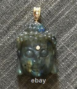 Pendentif Sculpté De Bouddha Labradorite Avec L'or Jaune De 14k Et La Caution De Diamant