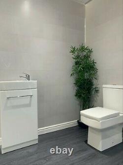 Salle De Bain Grise Clading 8mm Blanc Plafond Panneaux Effet Carrelage Pvc Douche Mur Humide