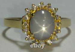 Saphir Et Bague Diamanté En Or Fin 18 Carats Massif 3,23 Grammes Sz 5,5