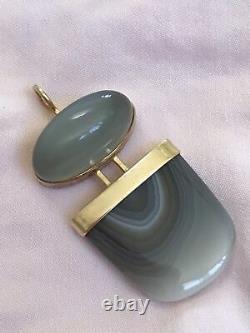 Sasa Jewelry Pendentif Doré 14k Pierre De Lune Et Blue Mountain Jasper Fine Fabrique À La Main