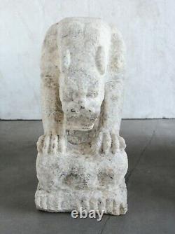 Sculpté Gris/blanc Pierre Tiger Temple Gardiens Jardin Art, Marbre Naturel