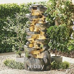 Serenity Garden 142cm 6 Tier Cascading Rock Pool Water Feature Led Outdoor New