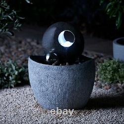 Serenity Garden 53cm Stone-effect Water Feature Led Fontaine Extérieure Décor Nouveau
