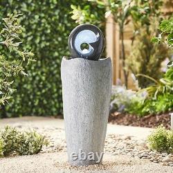 Serenity Garden 88cm Stone-effect Water Feature Led Fontaine Extérieure Décor Nouveau