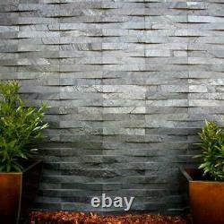 Silver Grey Quartzite Split Face Stone Wall Cladding Mosaic V Tiles 3d Effects
