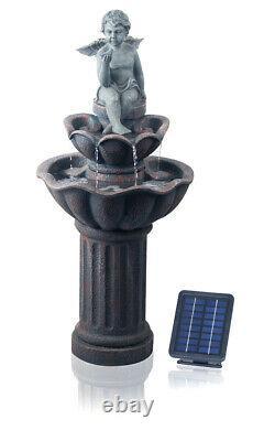 Solar Powered Cherub Birdbath Fontaine Extérieure Caractéristique De L'eau Effet De Pierre