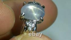 Solid Platine Naturel Gris Étoile Saphir Bague Diamant 4.13 Grammes Sz 5.75