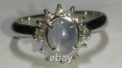 Solid Platine Naturel Gris Étoile Saphir Bague Diamant 5,27 Grammes Sz 7,25