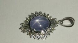 Solid Platine Naturel Gris Étoile Saphir Et Pendentif Diamant 2,87 Grammes