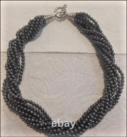 Tiffany & Co. Perles D'hématite Torsade Collier Sterling Silver Toggle Fermoir Rare