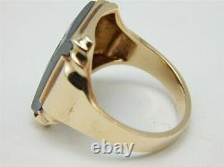 Vintage 10k Yellow Gold Hermatite Cameo Spartan Soilder Mens Ring Taille 9,75