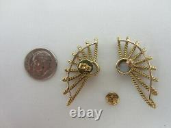 Vintage 14k Or Jaune Boucles D'oreilles En Pierre De Lune Fait Main Grand