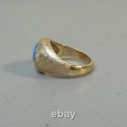Vintage 14k Yellow Gold & Cabochon Fire Opal Ring, Taille 7,25 Évalué $1250.00