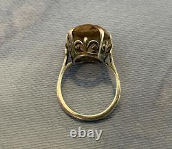 Vintage Argent Sterling, Ladies Crown Fleur De Lis Anneau, Gris Amethyst Paris