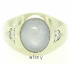 Vintage Homme 14k Or Blanc 7.24ctw Oval Gray Star Sapphire Round Diamond Ring