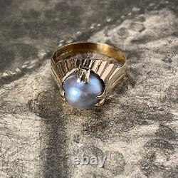 Vintage South Sea Pearl Ring, Tahitian Baroque Grey 9.9mm Pearl 1970's Uk U
